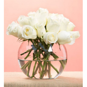 24 White Roses In Fishbowl