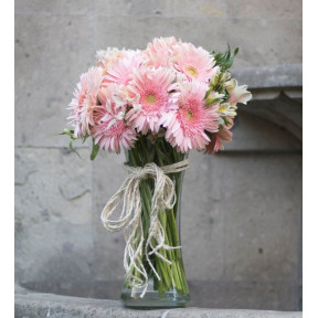 24 Pink Gerberas And Astromeliads