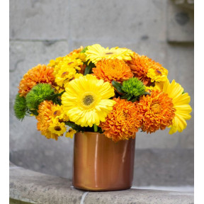Yellow Gerberas And Chrysanthemums