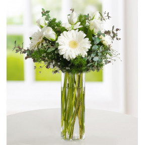 White Roses And Gerberas - Above The Clouds