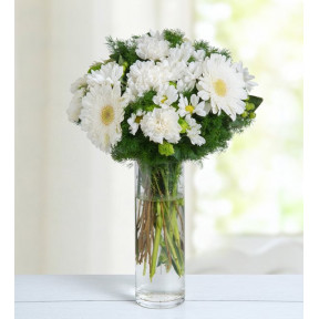 Gerberas, Carnations And Daisies - White Bubble