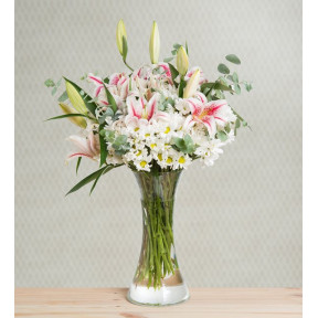 Pink Lilies And Daisies - Light Breeze