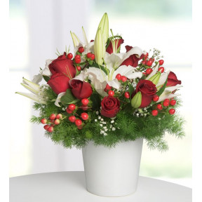 White Lilies And 9 Red Roses - Cup Of Love
