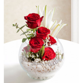 Red Roses And Lilies - Globe Of Love