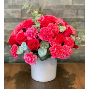 Pink Carnations And Mini Roses In Pot