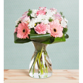 Carnations, Gerberas And Roses - Cotton Candy