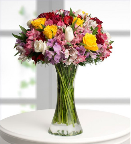 Alstroemeria And Roses - Multicolor