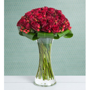 50 Red Roses - Beyond the Dreams (With Vase)