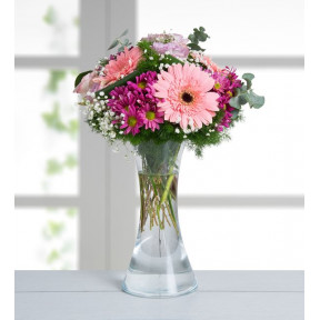 Roses, Gerberas, Daisies - Spring Day (With Vase)