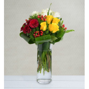 12 Colorful Roses - The Trio (With Vase)