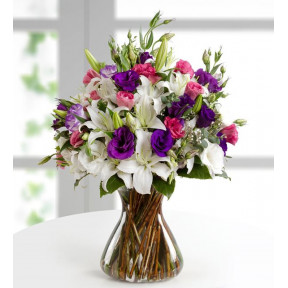 Pink and Purple - Lilies and Lisianthus (With Vase)