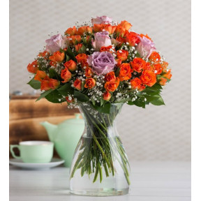 60 Orange rambler roses and 5 Lilac Roses - Summery Twinkle (Without Vase)