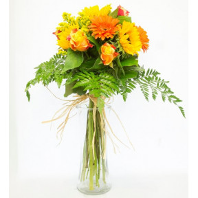 The Spring Sun - Sunflowers, Roses and Gerberas (Without Vase)
