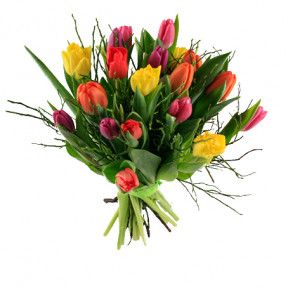 Send The Bouquet Of Tulips With Blueberry Rice As Flower Bouquet