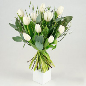 Send the bouquet of White Tulips to a flower bud