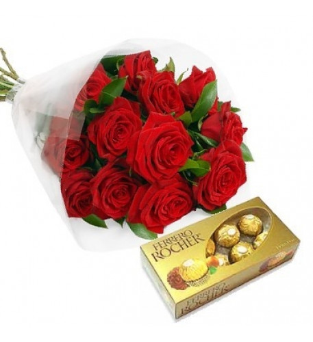 One Dozen Roses Bouquet And A Chocolates Box