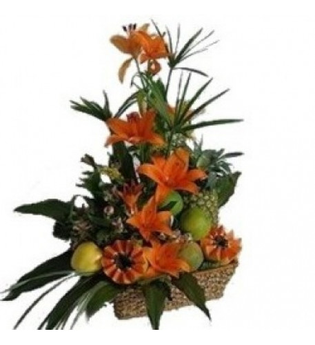 Flowers And Fruits Arrangement