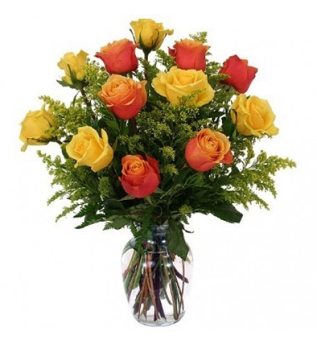 12 Yellow And Orange Roses Vase Included