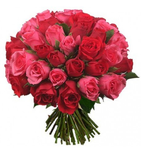 Three Dozen Red And Pink Roses Bouquet