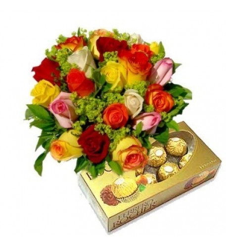 Bouquet Of 12 Mixed Roses, Chocolates Included