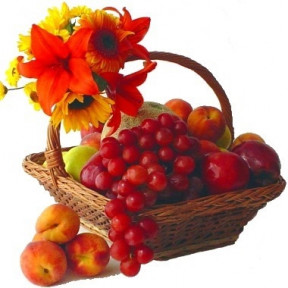 Frutal Basket With Lilies And Sunflowers Or Gerberas