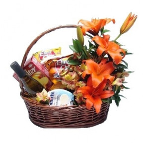 Gourmet Basket With Lilies