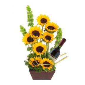 Eight Sunflowers And Wine