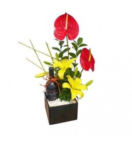 Lilies, Anthurium And Wine
