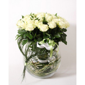 Roses bouquet WHITE SYMPHONY (Medium)
