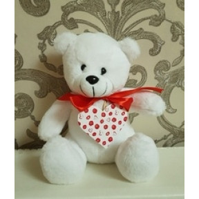 Soft Toy Teddy Bear With Heart, White