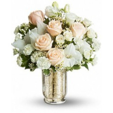 Round bouquet of roses, carnations and alstroemeria