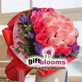 Bouquet of 12 Peach And  21 Hot Pink Roses