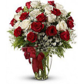 Bouquet Of 25 Red And White Roses Divine Love
