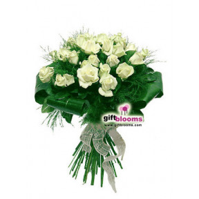 Bouquet of 25 white roses Recognition