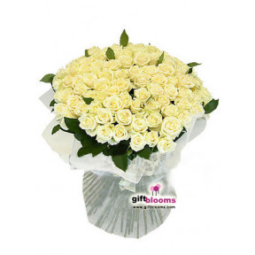 VIP bouquet 101 white rose White Heaven