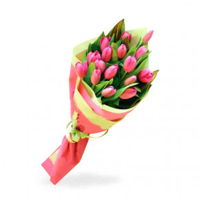 Flower bouquet of 17 Pink Tulips