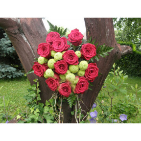 Round bouquet of 11 red roses