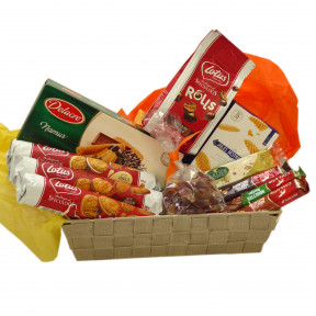 Belgian candy basket with cookies, chocolate and nougat