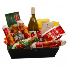 Belgian gift basket with a French white Chablis wine