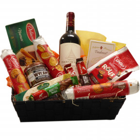 Belgian gift basket with a top French wine