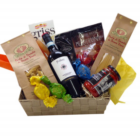 Italian gift basket with pasta and red wine
