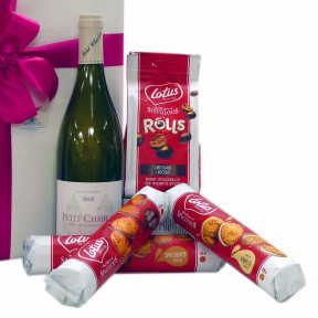White French wine with Belgian goodies packed as a gift