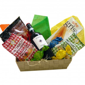 Italian-Spanish gift basket with Italian wine