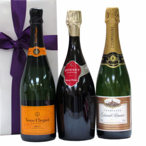 Trio of bubbles Veuve Clicquot Gosset and E. Roussin