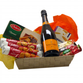 Belgian Candy Basket with Veuve Clicquot champagne