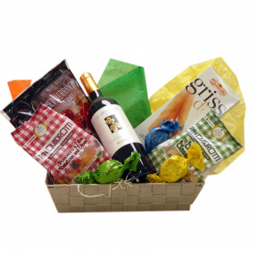 Southern gift basket with an Italian white wine