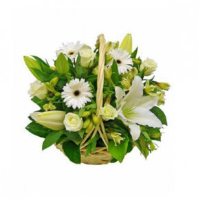 Basket of white flowers