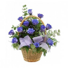 Basket of 18 blue roses