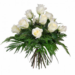 Bouquet of 12 purity white roses
