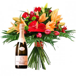 Bouquet of flowers and cava (Small)
